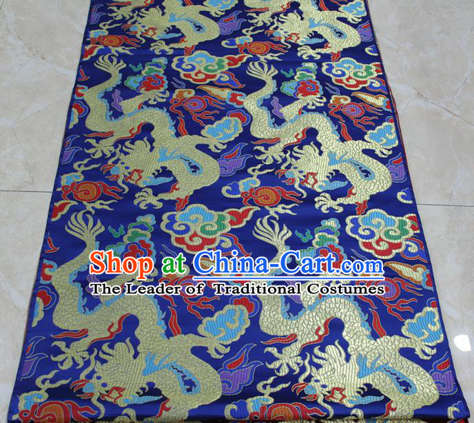 Chinese Traditional Clothing Palace Dragons Pattern Cheongsam Blue Brocade Ancient Costume Tang Suit Satin Fabric Hanfu Material