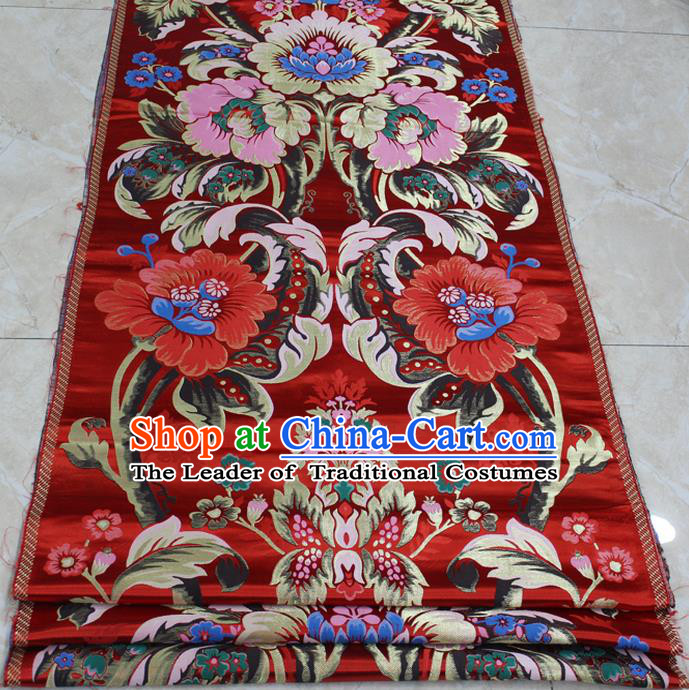 Chinese Traditional Clothing Palace Pattern Cheongsam Red Brocade Ancient Costume Xiuhe Suit Satin Fabric Hanfu Material