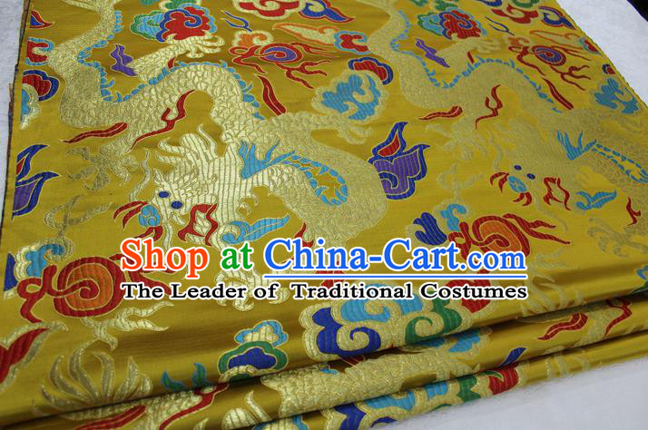 Chinese Traditional Clothing Palace Dragons Pattern Cheongsam Yellow Brocade Ancient Costume Tang Suit Satin Fabric Hanfu Material