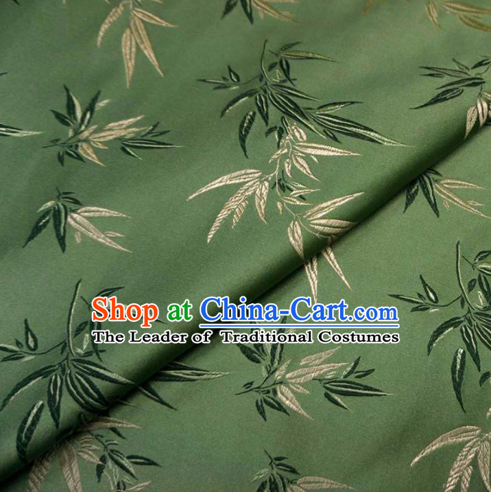 Chinese Traditional Clothing Palace Bamboo Pattern Tang Suit Green Brocade Ancient Costume Cheongsam Satin Fabric Hanfu Material