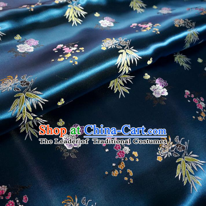 Chinese Traditional Clothing Royal Court Pattern Tang Suit Peacock Blue Brocade Ancient Costume Cheongsam Satin Fabric Hanfu Material
