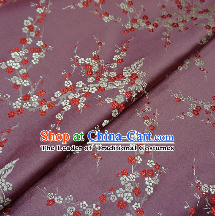 Chinese Traditional Clothing Royal Court Wintersweet Pattern Tang Suit Pink Brocade Ancient Costume Cheongsam Satin Fabric Hanfu Material