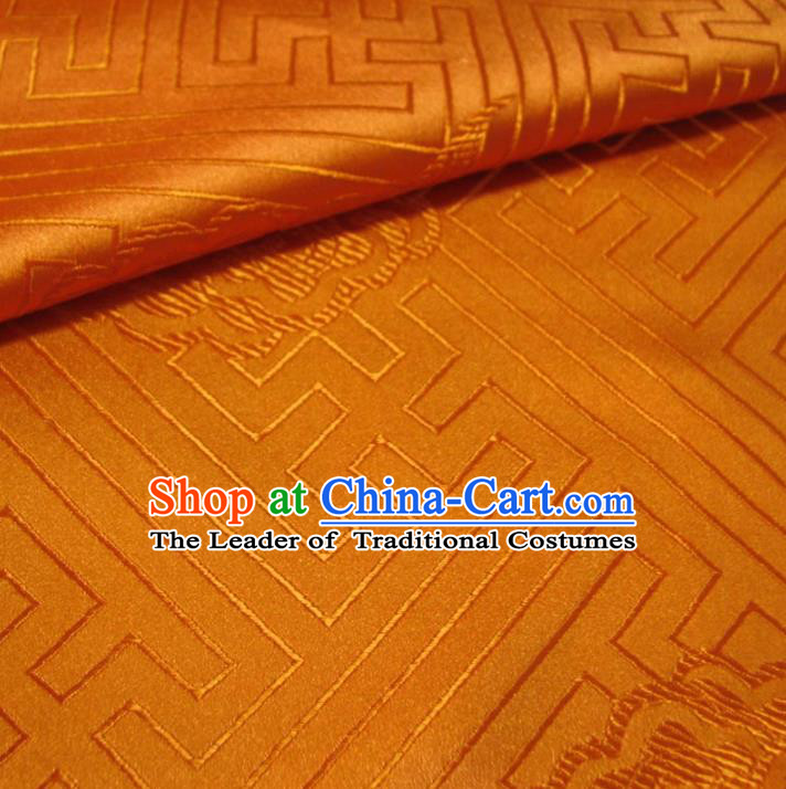 Chinese Traditional Clothing Royal Court Pattern Tang Suit Orange Brocade Ancient Costume Cheongsam Satin Fabric Hanfu Material