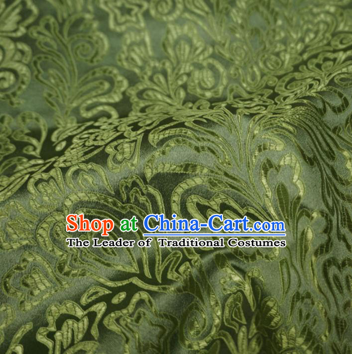 Chinese Traditional Clothing Royal Court Pattern Tang Suit Green Brocade Ancient Costume Cheongsam Satin Fabric Hanfu Material