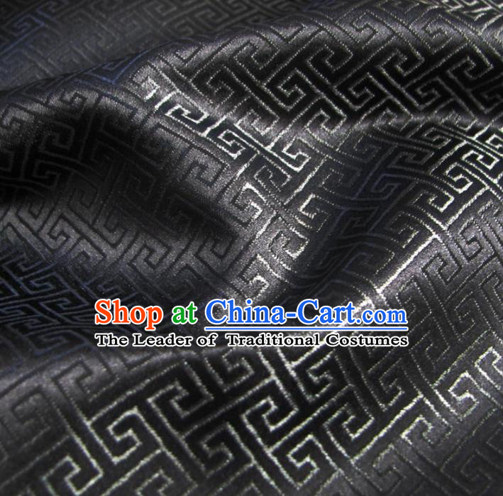 Chinese Traditional Clothing Royal Court Pattern Tang Suit Black Brocade Ancient Costume Cheongsam Satin Fabric Hanfu Material