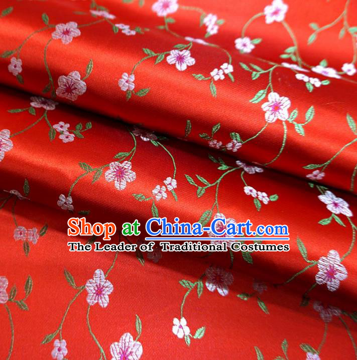 Chinese Traditional Clothing Royal Court Wintersweet Pattern Tang Suit Red Brocade Ancient Costume Cheongsam Satin Fabric Hanfu Material