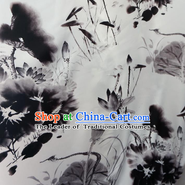 Chinese Traditional Clothing Royal Court Ink Painting Lotus Tang Suit White Brocade Ancient Costume Cheongsam Satin Fabric Hanfu Material