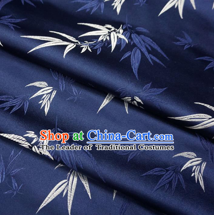 Chinese Traditional Clothing Royal Court Printing Bamboo Tang Suit Navy Brocade Ancient Costume Cheongsam Satin Fabric Hanfu Material