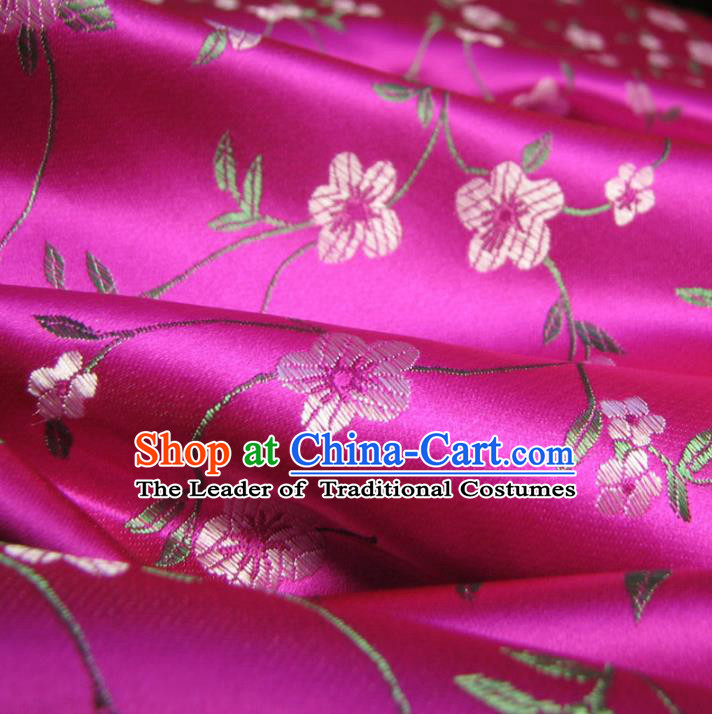 Chinese Traditional Clothing Royal Court Wintersweet Pattern Tang Suit Rosy Brocade Ancient Costume Cheongsam Satin Fabric Hanfu Material