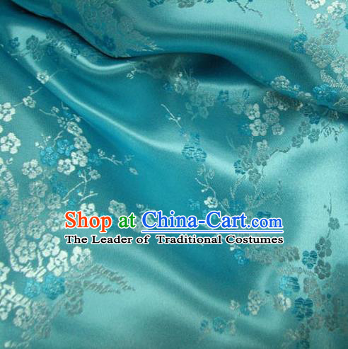 Chinese Traditional Clothing Royal Court Wintersweet Pattern Tang Suit Blue Brocade Ancient Costume Cheongsam Satin Fabric Hanfu Material