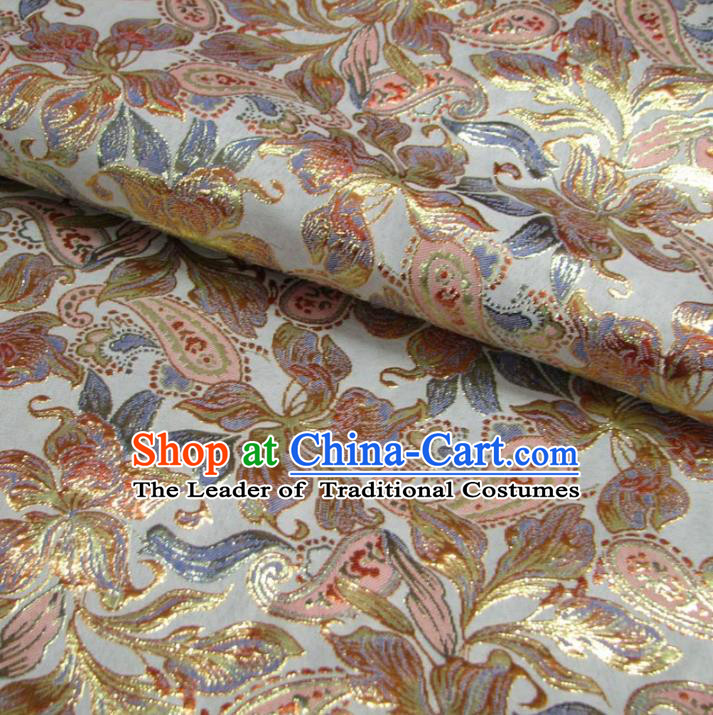 Chinese Traditional Clothing Royal Court Pattern Tang Suit White Brocade Ancient Costume Cheongsam Satin Fabric Hanfu Material