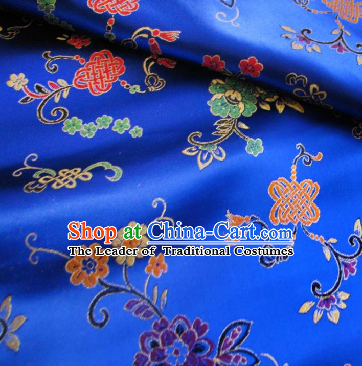 Chinese Traditional Clothing Royal Court Chinese Knots Pattern Tang Suit Royalblue Brocade Ancient Costume Cheongsam Satin Fabric Hanfu Material