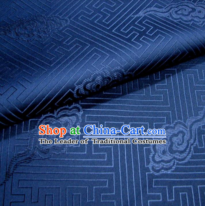 Chinese Traditional Clothing Royal Court Pattern Tang Suit Deep Blue Brocade Ancient Costume Cheongsam Satin Fabric Hanfu Material