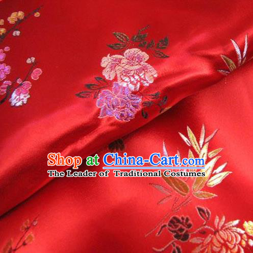 Chinese Traditional Royal Court Peony Pattern Purplish Red Brocade Ancient Costume Tang Suit Cheongsam Bourette Fabric Hanfu Material