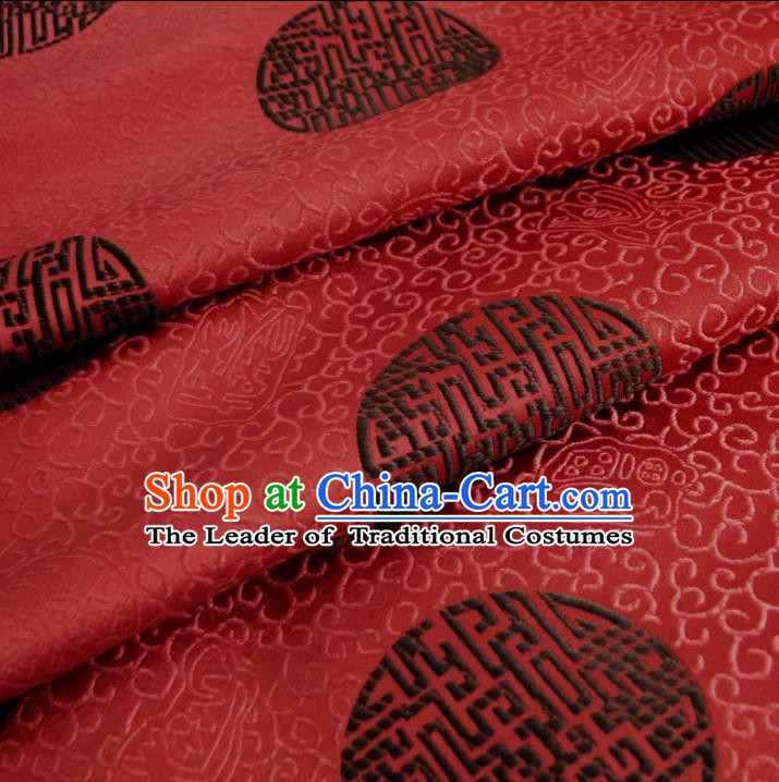 Chinese Traditional Royal Court Pattern Wine Red Brocade Ancient Costume Tang Suit Cheongsam Bourette Fabric Hanfu Material