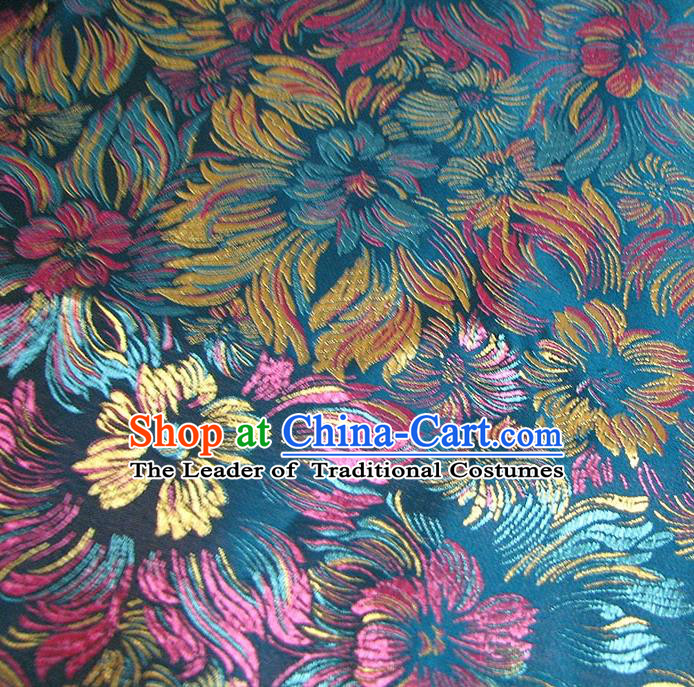 Chinese Traditional Royal Court Flowers Pattern Blue Brocade Ancient Costume Tang Suit Cheongsam Bourette Fabric Hanfu Material