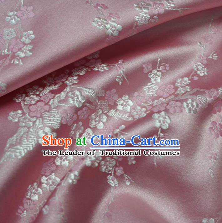 Chinese Traditional Royal Court Wintersweet Pattern Pink Brocade Ancient Costume Tang Suit Cheongsam Bourette Fabric Hanfu Material