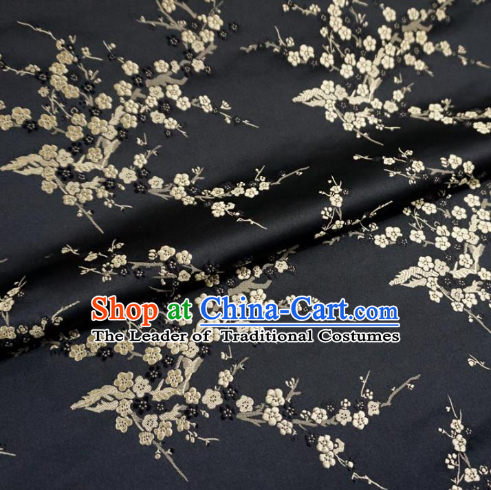 Chinese Traditional Royal Court Wintersweet Pattern Black Brocade Ancient Costume Tang Suit Cheongsam Bourette Fabric Hanfu Material