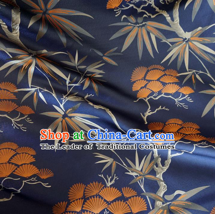 Chinese Traditional Royal Court Dragons Pine Bamboo Pattern Navy Brocade Ancient Costume Tang Suit Cheongsam Bourette Fabric Hanfu Material