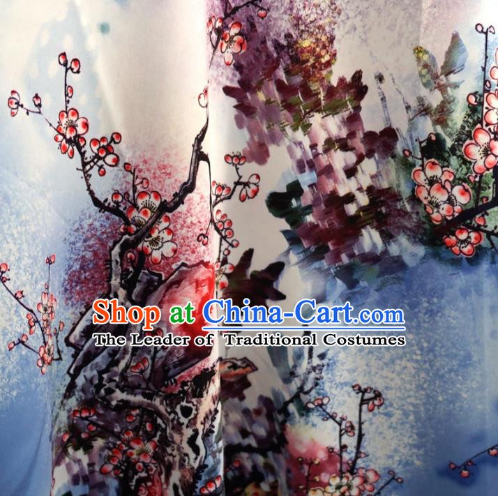 Chinese Traditional Royal Court Printing Flowers Pattern Brocade Ancient Costume Tang Suit Cheongsam Bourette Fabric Hanfu Material