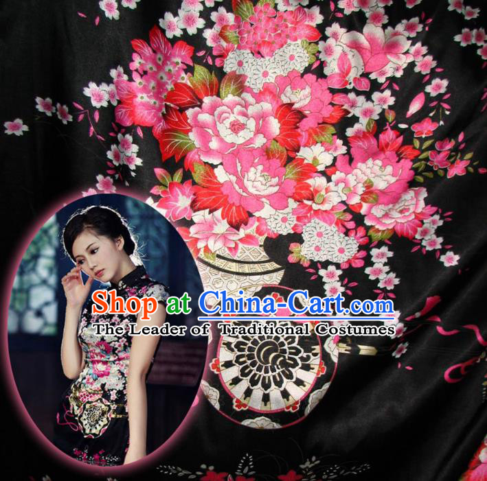 Chinese Traditional Clothing Royal Court Flowers Pattern Tang Suit Black Brocade Ancient Costume Cheongsam Satin Fabric Hanfu Material