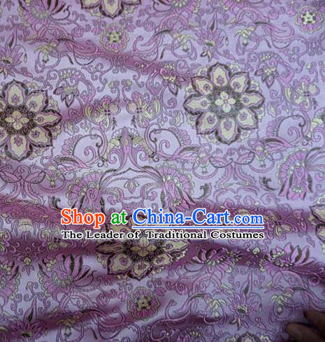 Chinese Traditional Royal Court Flowers Pattern Purple Brocade Ancient Costume Tang Suit Cheongsam Bourette Fabric Hanfu Material