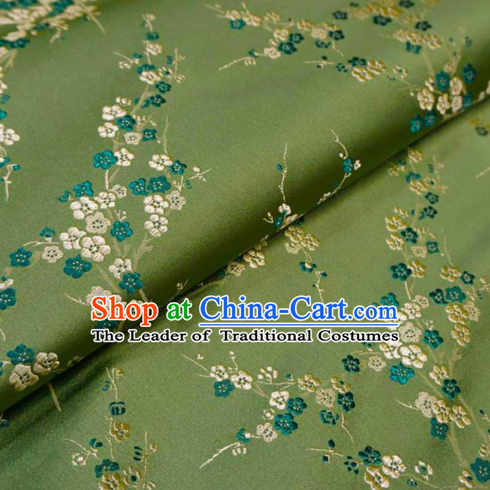 Chinese Traditional Royal Court Wintersweet Pattern Green Brocade Xiuhe Suit Fabric Ancient Costume Tang Suit Cheongsam Hanfu Material