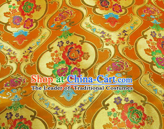 Chinese Traditional Royal Court Pattern Yellow Brocade Xiuhe Suit Fabric Ancient Costume Tang Suit Cheongsam Hanfu Material