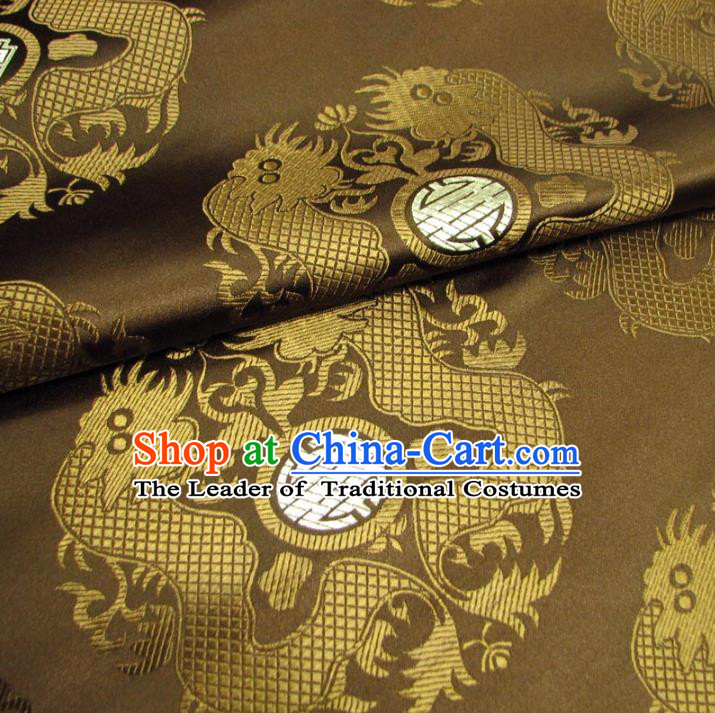 Chinese Traditional Royal Court Dragons Pattern Brown Brocade Xiuhe Suit Fabric Ancient Costume Tang Suit Cheongsam Hanfu Material