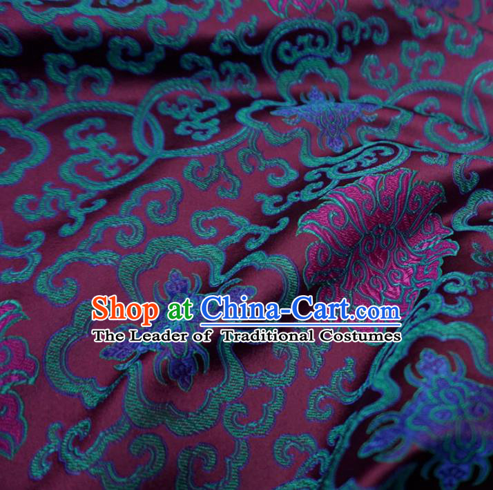 Chinese Traditional Royal Court Pattern Purple Brocade Xiuhe Suit Fabric Ancient Costume Tang Suit Cheongsam Hanfu Material