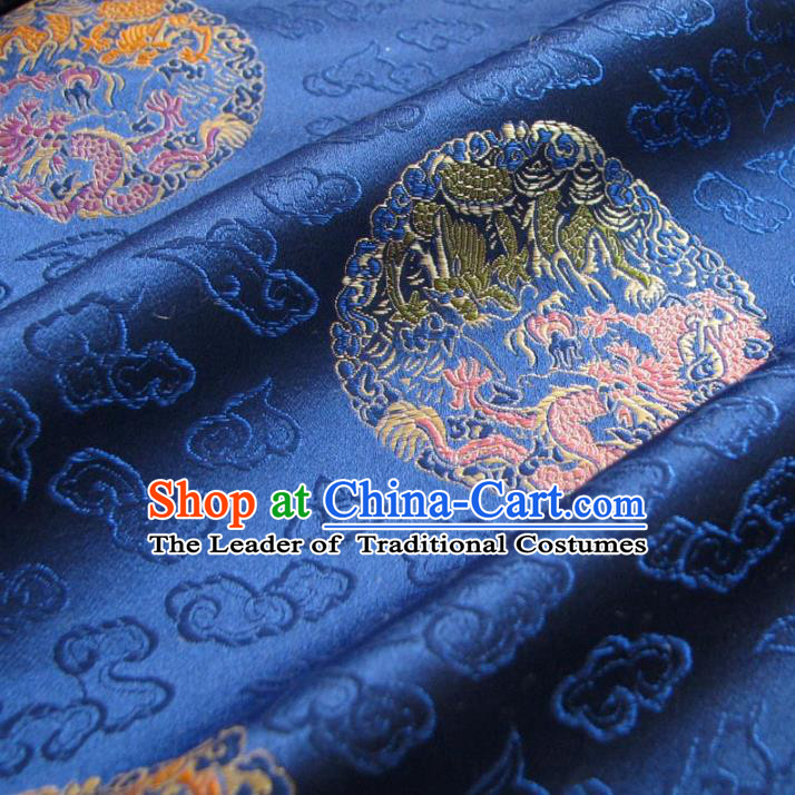 Chinese Traditional Clothing Royal Court Round DragonsPattern Tang Suit Blue Brocade Ancient Costume Cheongsam Satin Fabric Hanfu Material