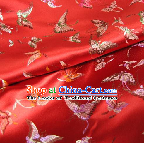 Chinese Traditional Royal Court Butterfly Pattern Red Brocade Xiuhe Suit Fabric Ancient Costume Tang Suit Cheongsam Hanfu Material