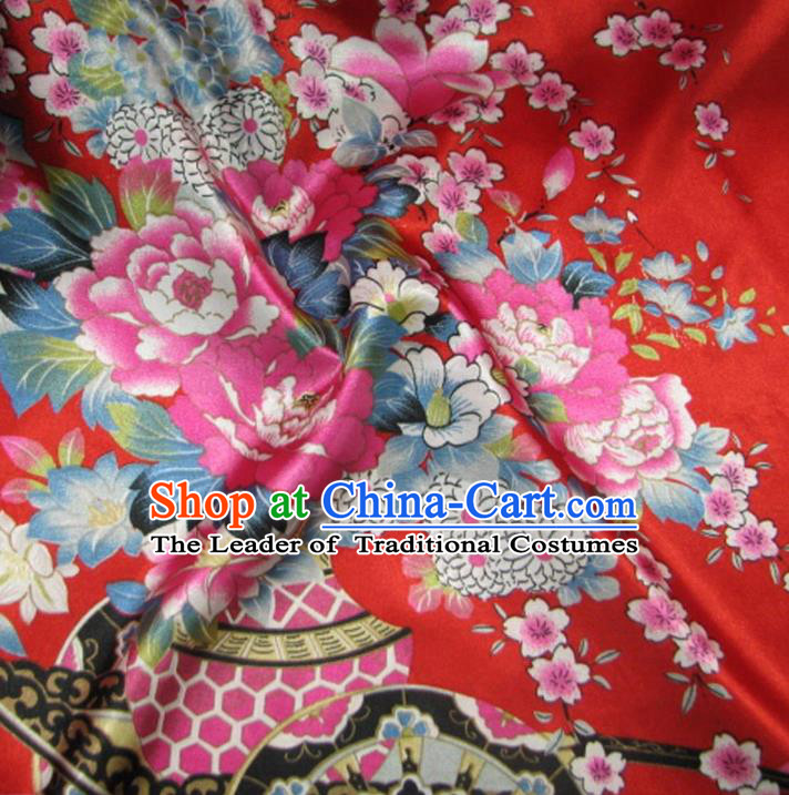 Chinese Traditional Royal Court Flowers Pattern Red Brocade Xiuhe Suit Fabric Ancient Costume Tang Suit Cheongsam Hanfu Material