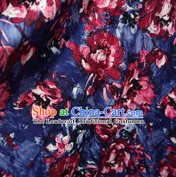 Chinese Traditional Royal Court Flowers Pattern Blue Brocade Xiuhe Suit Fabric Ancient Costume Tang Suit Cheongsam Hanfu Material