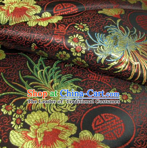 Chinese Traditional Royal Court Chrysanthemum Pattern Black Brocade Xiuhe Suit Fabric Ancient Costume Tang Suit Cheongsam Hanfu Material