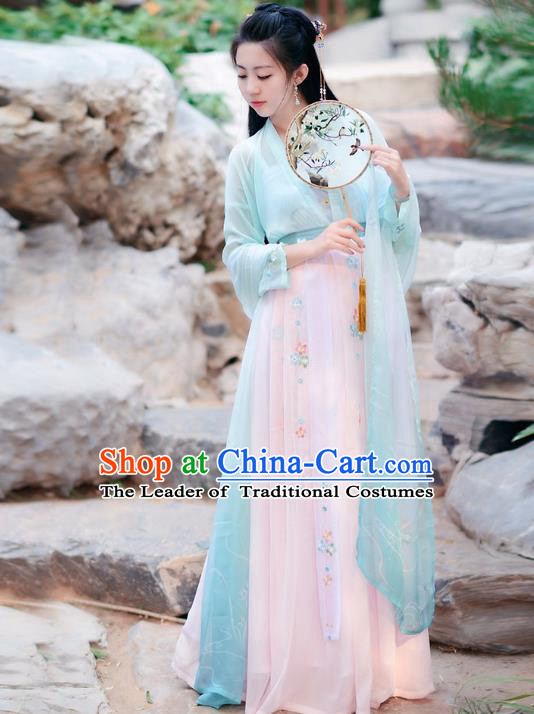Traditional Chinese Tang Dynasty Palace Lady Fairy Princess Hanfu Embroidered Costume for Women
