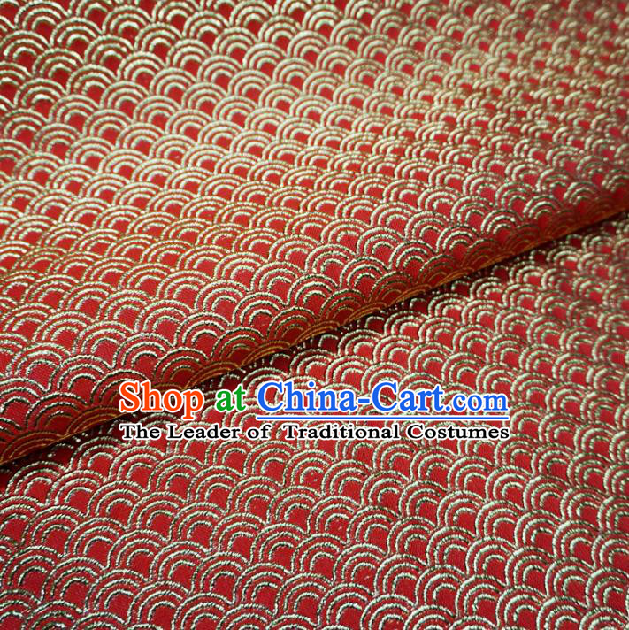 Chinese Traditional Royal Court Scale Pattern Red Brocade Xiuhe Suit Fabric Ancient Costume Tang Suit Cheongsam Hanfu Material
