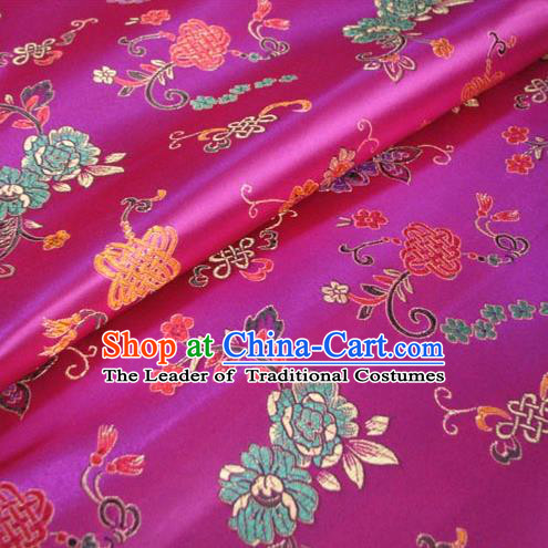 Chinese Traditional Royal Palace Chinese Knots Pattern Design Rosy Brocade Xiuhe Suit Fabric Ancient Costume Tang Suit Cheongsam Hanfu Material