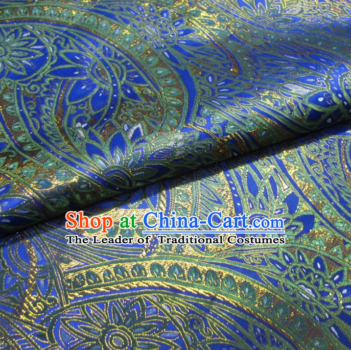 Chinese Traditional Royal Palace Pattern Design Blue Brocade Mongolian Robe Fabric Ancient Costume Tang Suit Cheongsam Hanfu Material