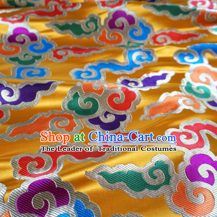 Chinese Traditional Royal Palace Pattern Design Yellow Brocade Mongolian Robe Fabric Ancient Costume Tang Suit Cheongsam Hanfu Material