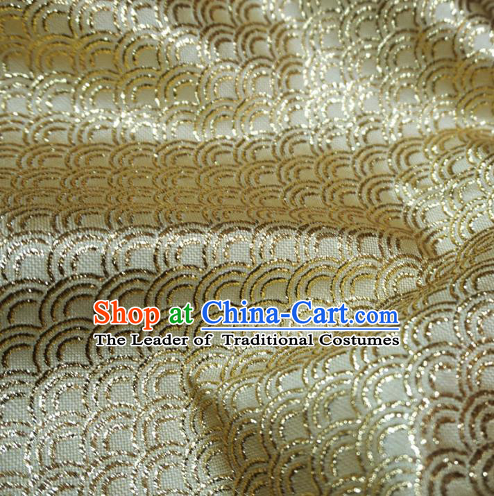 Chinese Traditional Royal Palace Scale Pattern Design Golden Brocade Mongolian Robe Fabric Ancient Costume Tang Suit Cheongsam Hanfu Material