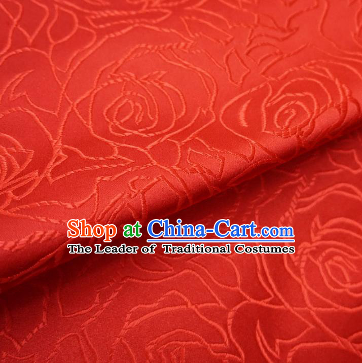 Chinese Traditional Royal Palace Rose Pattern Design Red Brocade Mongolian Robe Fabric Ancient Costume Tang Suit Cheongsam Hanfu Material