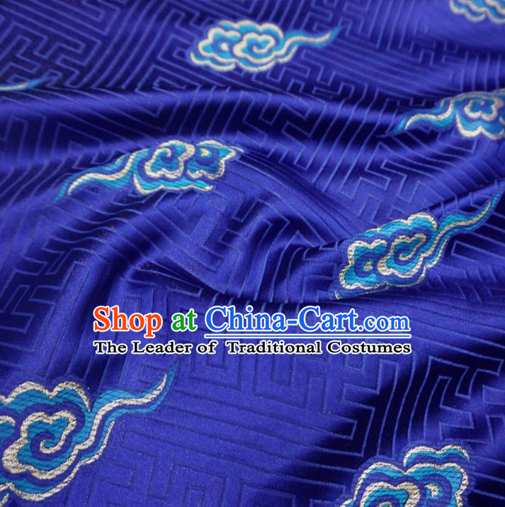 Chinese Traditional Royal Palace Clouds Pattern Design Blue Brocade Mongolian Robe Fabric Ancient Costume Tang Suit Cheongsam Hanfu Material