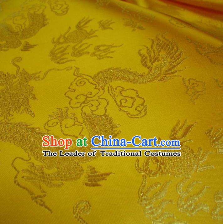 Chinese Traditional Royal Palace Dragons Pattern Design Yellow Brocade Mongolian Robe Fabric Ancient Costume Tang Suit Cheongsam Hanfu Material