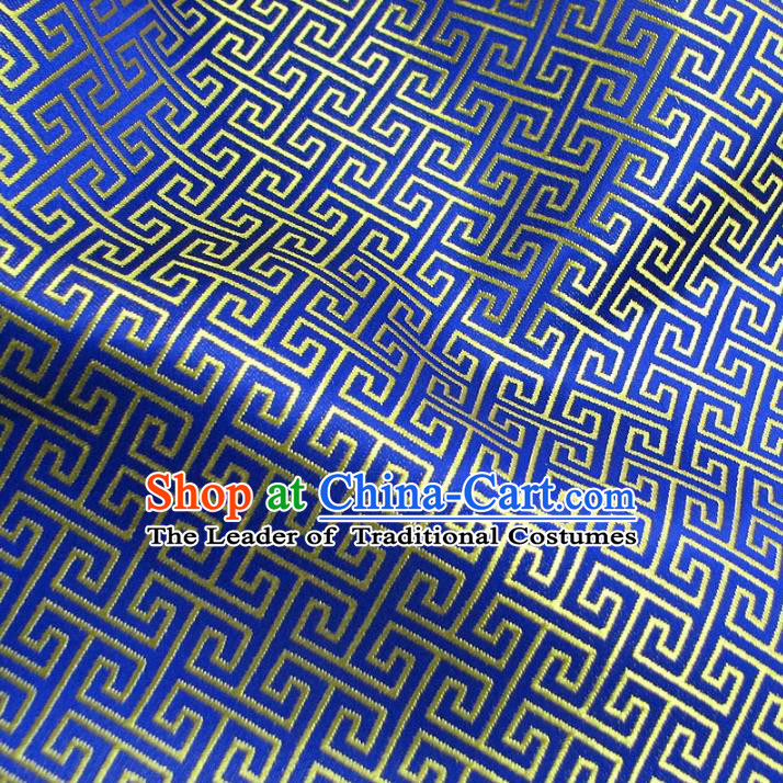 Chinese Traditional Royal Palace Pattern Design Royalblue Brocade Mongolian Robe Fabric Ancient Costume Tang Suit Cheongsam Hanfu Material