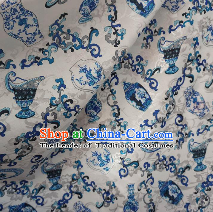 Chinese Traditional Royal Palace Pattern Design White Brocade Xiuhe Suit Fabric Ancient Costume Tang Suit Cheongsam Hanfu Material