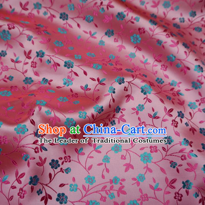 Chinese Traditional Royal Palace Wintersweet Pattern Design Pink Brocade Fabric Ancient Costume Tang Suit Cheongsam Hanfu Material