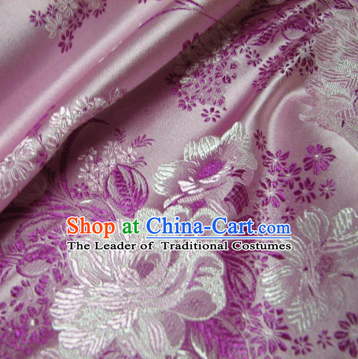 Chinese Traditional Royal Palace Peony Pattern Design Pink Brocade Fabric Ancient Costume Tang Suit Cheongsam Hanfu Material