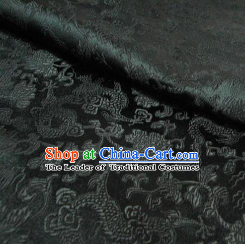 Chinese Traditional Royal Palace Dragons Pattern Design Black Brocade Fabric Ancient Costume Tang Suit Cheongsam Hanfu Material