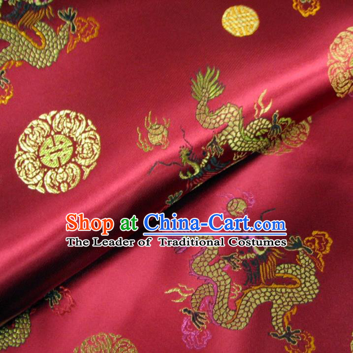 Chinese Traditional Royal Palace Dragons Pattern Design Wine Red Brocade Fabric Ancient Costume Tang Suit Cheongsam Hanfu Material